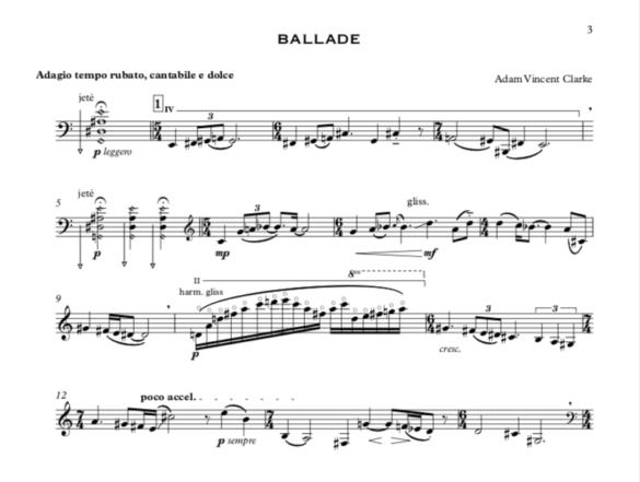 Adam Clarke Adam Vincent Clarke Composer Sound Artist Ballade Cello Score